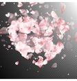 Heart with falling flower petals blossom EPS 10 vector image
