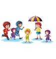 children wearing raincoats in rainy season vector image