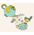 Tea time with flowers and bird vector image vector image