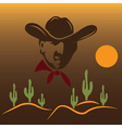cowboy on the background of desert with cactus vector image