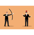 Businessman aiming to shoot at apple on colleague vector image