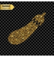 Gold glitter icon of courgette isolated on vector image