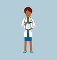 black female doctor character in a white coat vector image