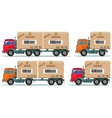 Long truck with cargo goes to the warehouse vector image
