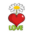 Love Red heart and flower Template for tattoos vector image