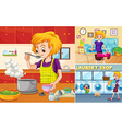 Housewife doing different chores in the house vector image