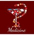 Medicine poster Bowl of Hygieia symbol vector image vector image