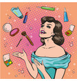 woman and scattered makeup vector image