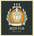 label for beer pub with barrel and coat of arms vector image