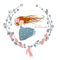 Cute girl with streaming hair vector image