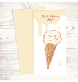 Cafe menu template with hand drawn ice cream in a vector image