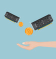 hand receive bitcoin ethereum from display card vector image