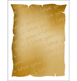 I love you text on parchment vector image
