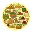 set of flat design cute colorful fruit icon vector image