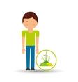 boy cartoon save earth icon eco energy vector image