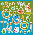 easter sticker set with spring holiday symbols vector image