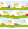 easter seamless pattern with cute cartoon chickens vector image