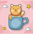 cat with coffee cup decoration cloud star vector image