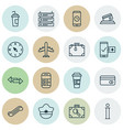 set of 16 travel icons includes phone reservation vector image