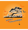 Halloween background with black tree vector image