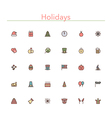 Holidays Colored Line Icons vector image
