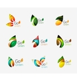 Glossy colorful leaf icon set vector image vector image