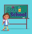 back to school poster inscription on blackboard vector image