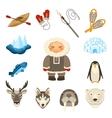 Chukchi Icons Set vector image