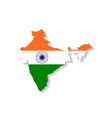 India flag map with shadow effect vector image