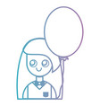 line girl with hairstyle and balloon design vector image