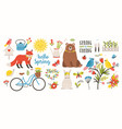 spring set collection of cute animals birds and vector image