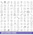 100 clothes icons set outline style vector image
