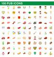 100 pub icons set cartoon style vector image