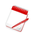 Spiral notebook with pen vector image vector image