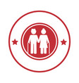 circular border with pictogram elderly couple with vector image