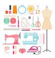 sewing kits icons set vector image