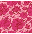 Pink flowers and leaves seamless pattern vector image vector image