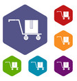 delivery cart with box icons set hexagon vector image