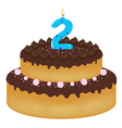 2 years old birthday cake vector image
