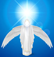 White angel against sky background vector image vector image
