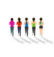 back view of woman runner in flat design vector image