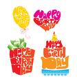 Heart Ballon Cake Giftbox - Handmade Calligraphy vector image