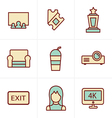 Icons Style cinema and movie icons set vector image