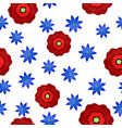 seamless pattern with flowers in flat style vector image