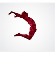 Silhouette of jumping man from triangles vector image