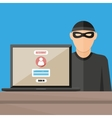 Thief hacker stealing passwords from laptop vector image