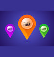 you are here signs with map pointer pin shape and vector image