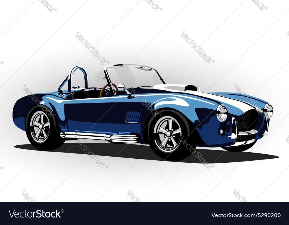 Classic sport car cobra roadster blue vector