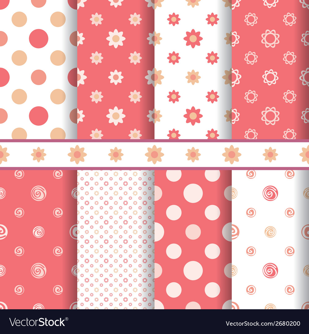 Cute baby patterns set  seamless girl pink vector