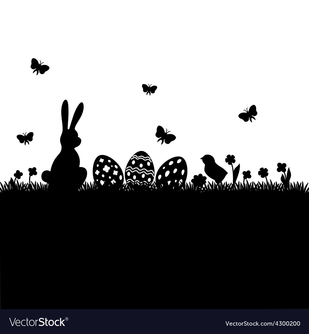 Easter black silhouette vector